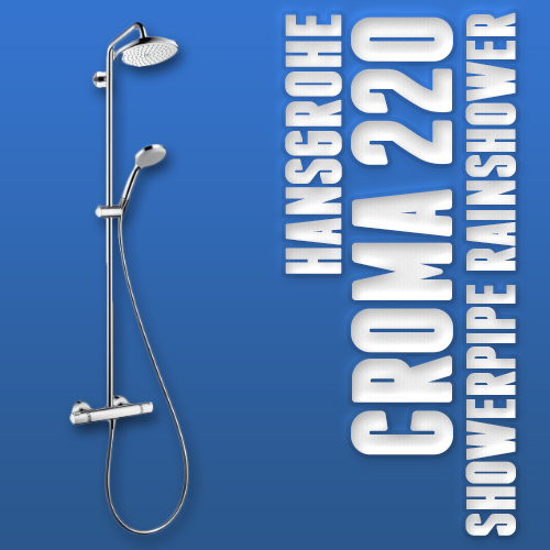 hansgrohe duschsystem croma 220 showerpipe mit thermostat chrom. Black Bedroom Furniture Sets. Home Design Ideas